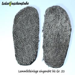 Lammfelleinlage eingenäht für Lederpuschen bis Gr. 21